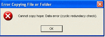 location is not available due to cyclic redundancy check data error