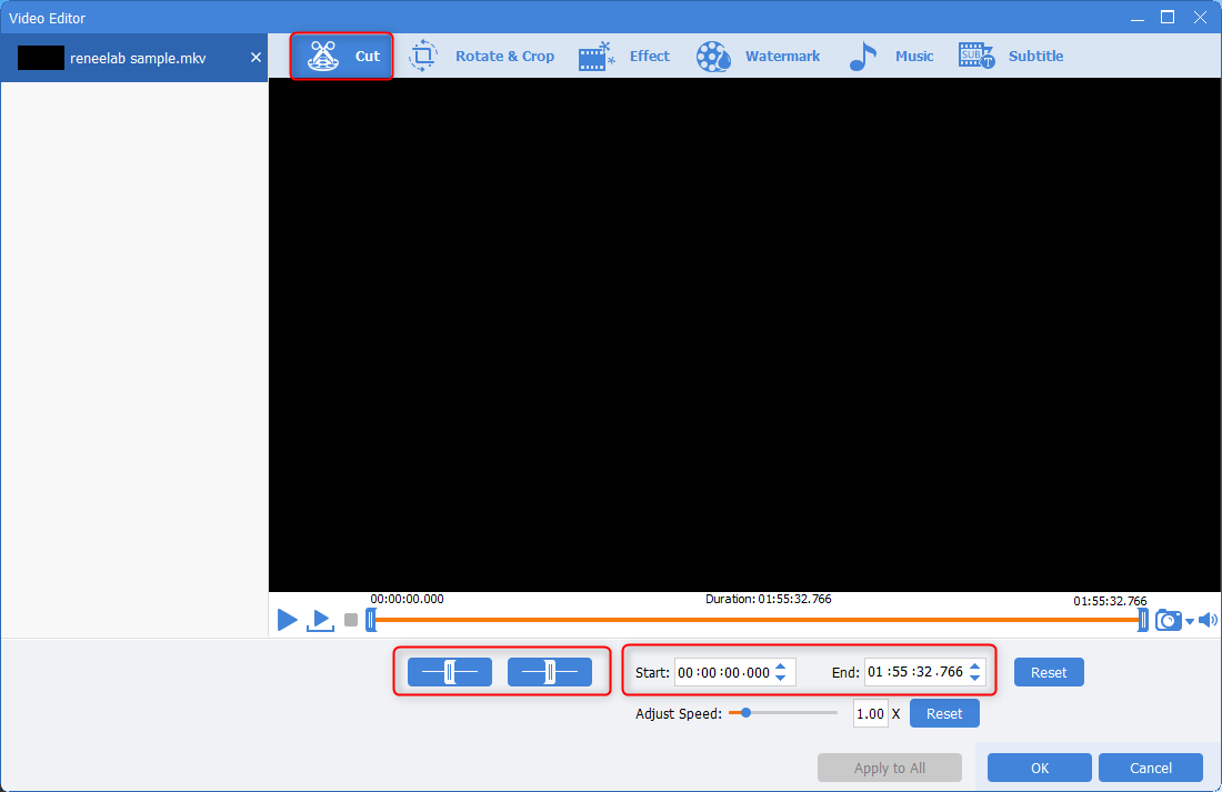 use renee video editor pro to cut mkv video