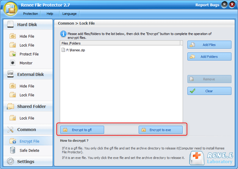 use renee file protector to encrypt to gfl or exe password protected zip file