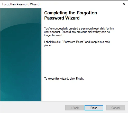 complete the password reset disk finish