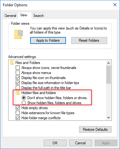 apply to hide files, folders and drives in windows