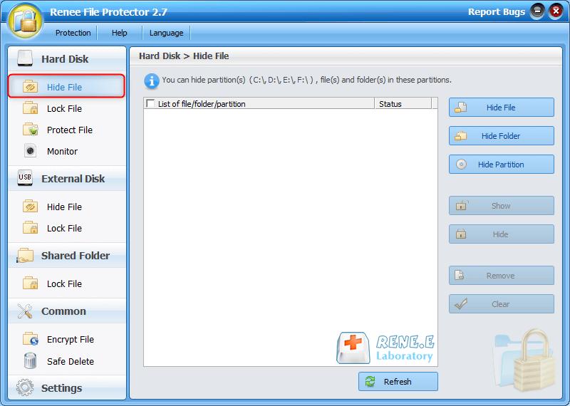 hide files in file protector