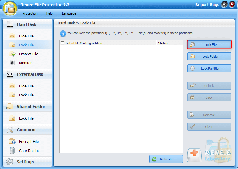 click to lock file in renee file protector