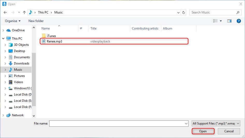 load audio file to renee audio tools
