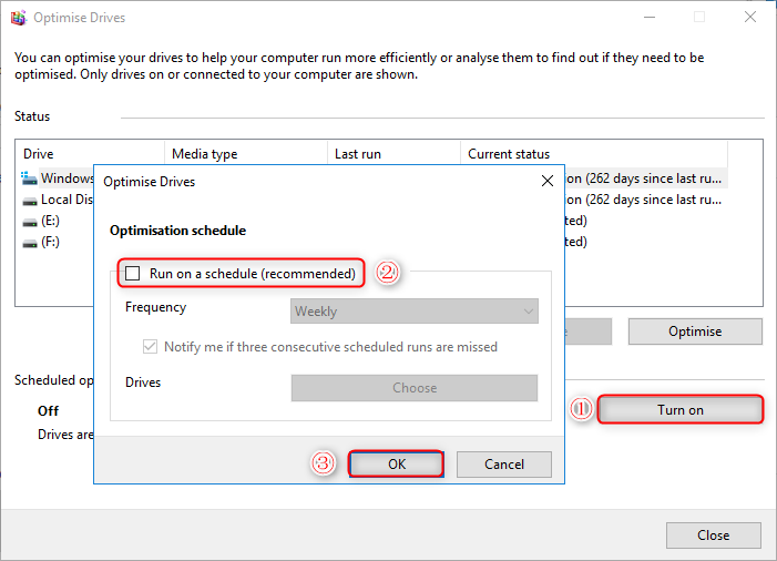 use disk defragmentation to optimize drive