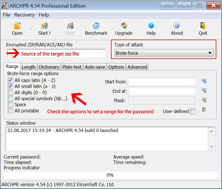 set a range on archpr to crack password