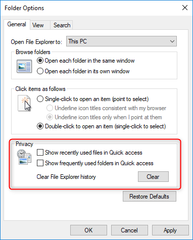 uncheck the option to hide recently used files and folders in quaick access