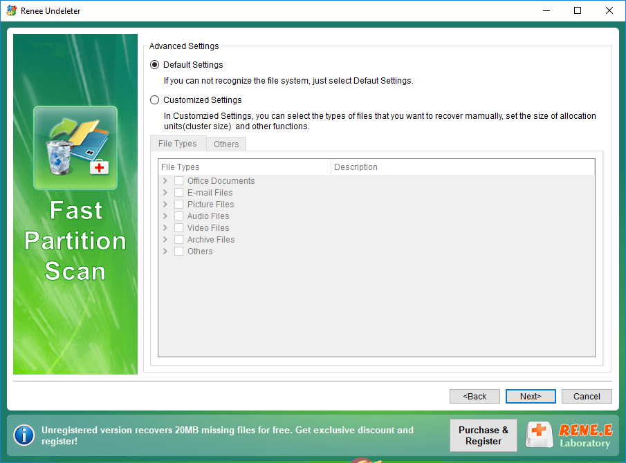 select the file types in fast partition scan