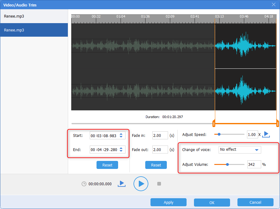 change audio voice or adjust volume to cut in renee audio tools