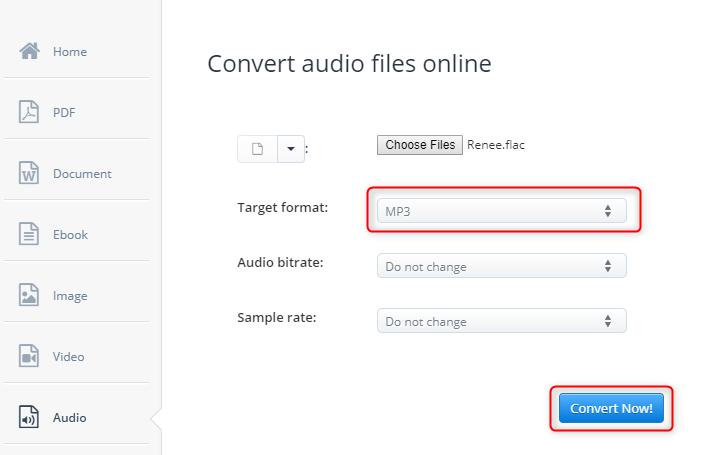 convert flac to mp3 on aconvertcom