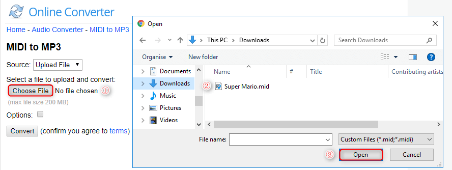 upload midi file to the online converter