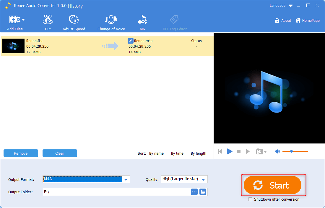 use renee audio converter to convert flac to m4a