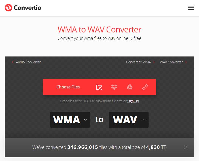 convert wma to wav on convertio