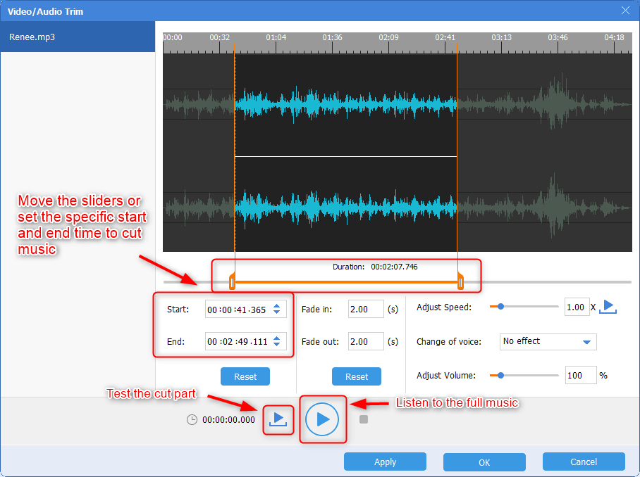 cut and test the cut music in renee audio tools