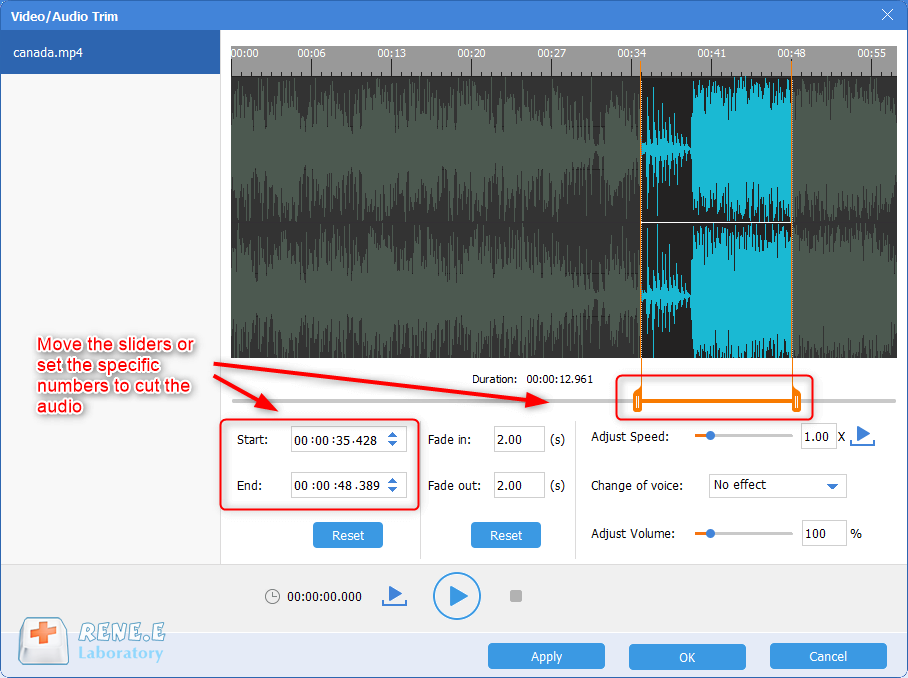 cut the audio part of a mp4 video in renee audio tools