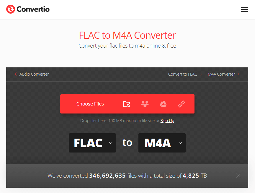 convert flac to m4a on convertio