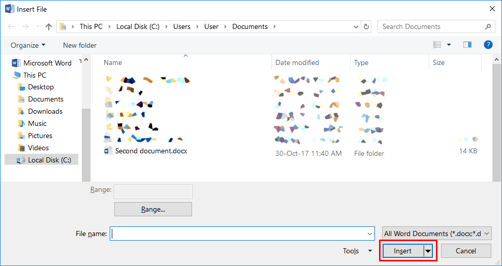 select the target file and confirm to insert it into word
