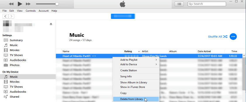 how to delete songs from iphone via itunes