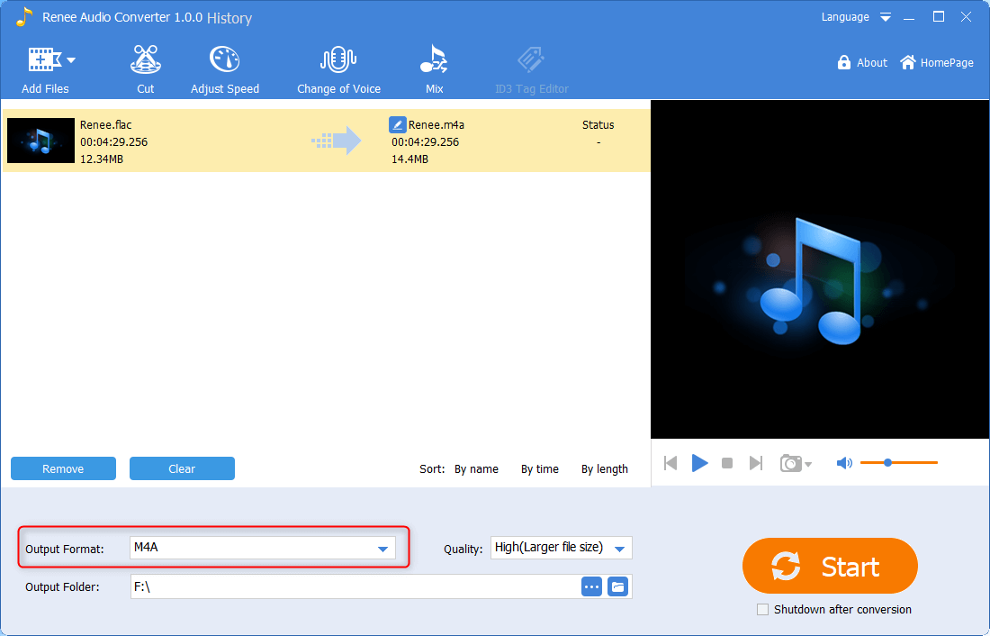 select m4a as the output format in renee audio converter