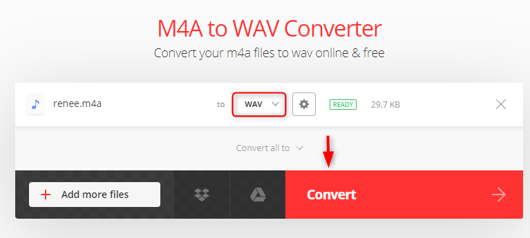 convert m4a to wav in convertio