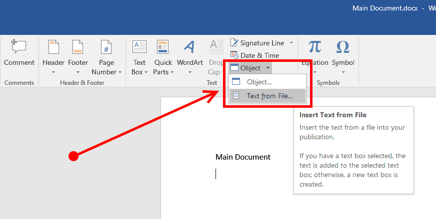 click object and select text from file