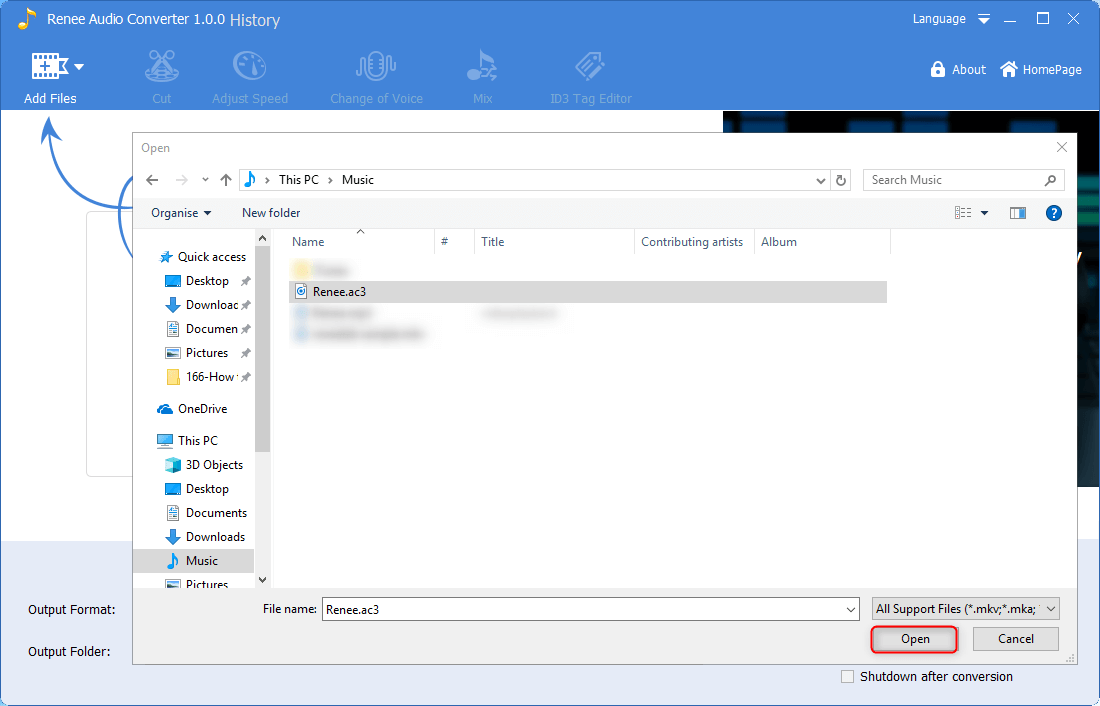 select to add ac3 file to renee audio converter