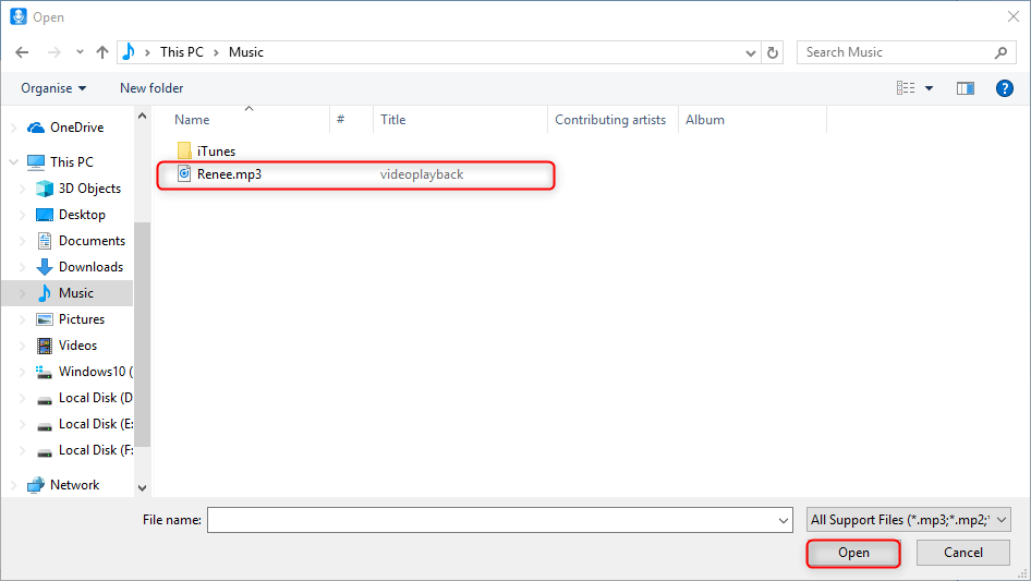 add the target file into transfer to itunes function