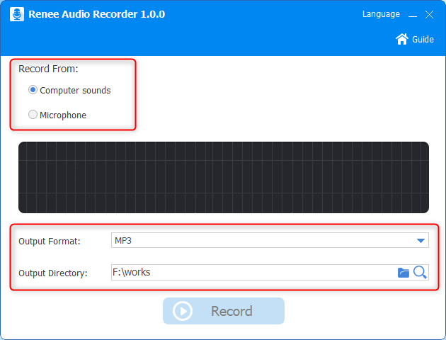 set output format record source and folder in renee audio tools