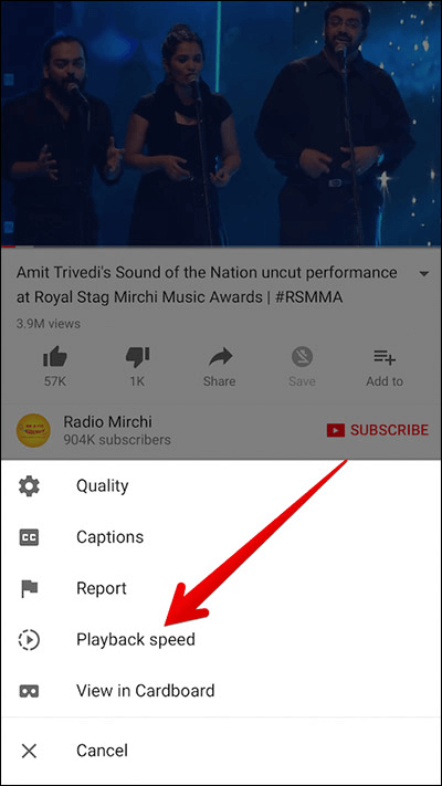 play youtube videos in slow motion in app