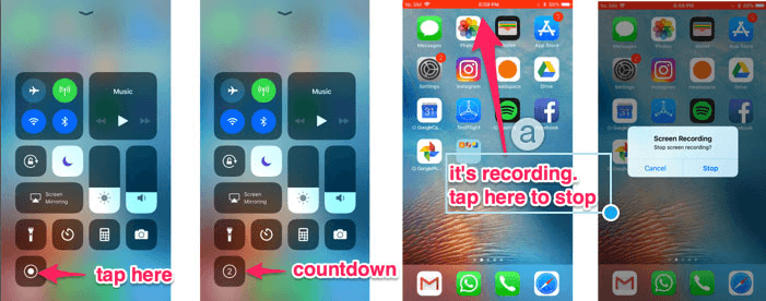 tap to begin recording screen on iphone
