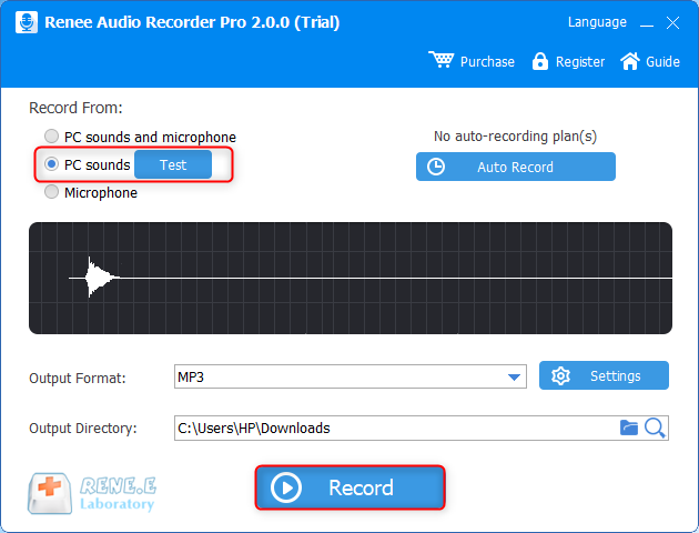 record computer sounds in renee audio recorder pro