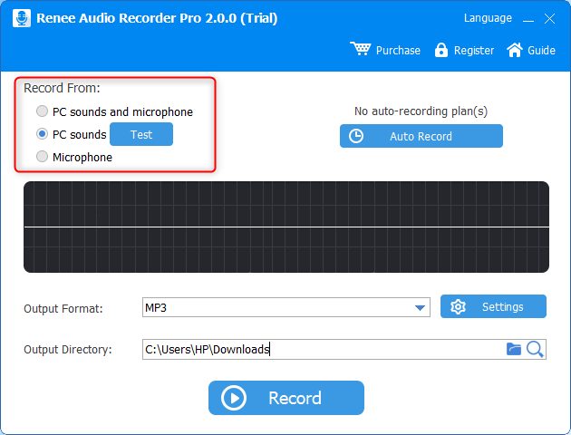 use renee audio recorder pro to record sounds from pc
