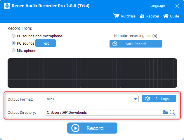 select the output format and output directory in renee audio recorder pro