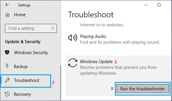 run the trouble shooter in windows update