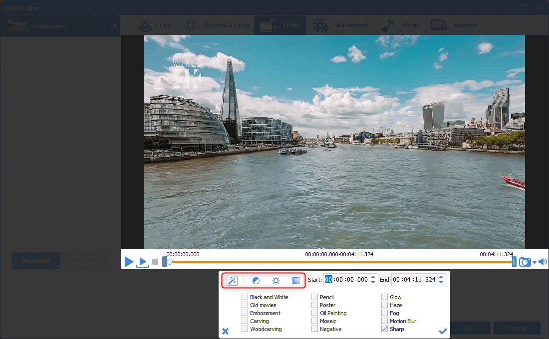 select video filters for mts video