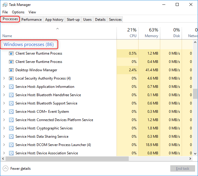 nevigate to windows processes in task manager
