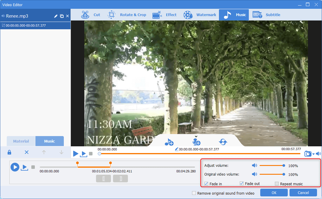 add sound effects to the background music in renee video editor pro