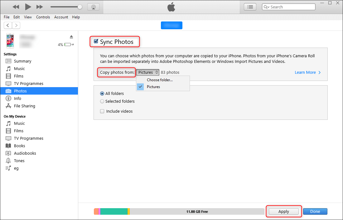 how to transfer the folder of photos from sd card to itunes on computer and to iphone