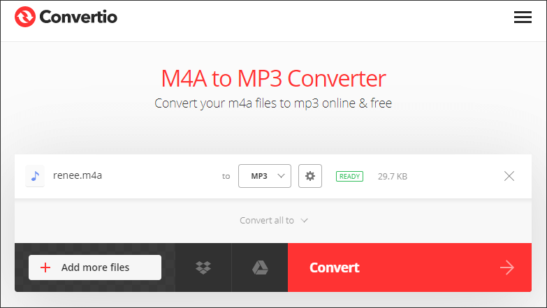 use convertio to convert m4a to mp3 online