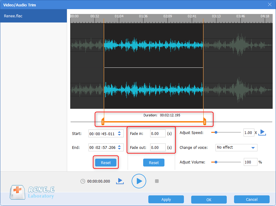 use renee audio tools to cut flac files