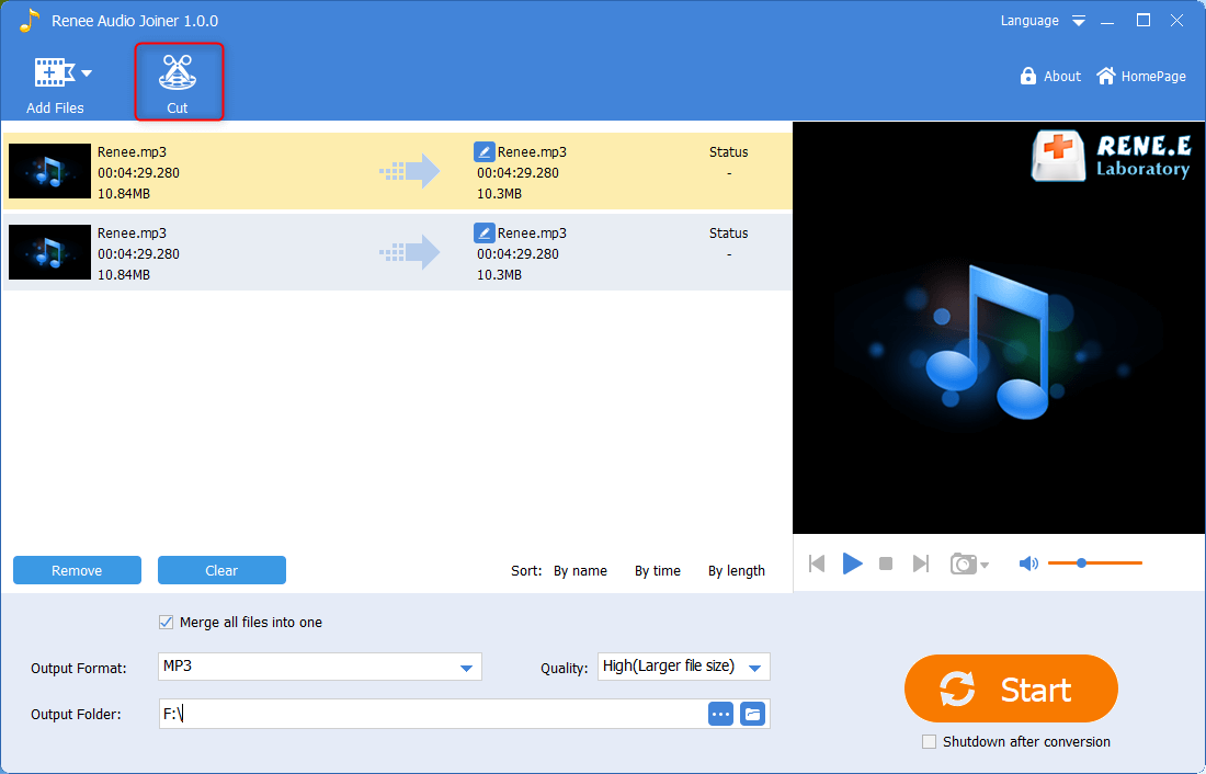 select to cut audio files in renee audio joiner