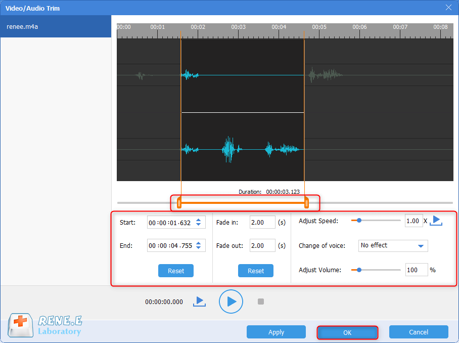 cut m4a file with renee audio tools