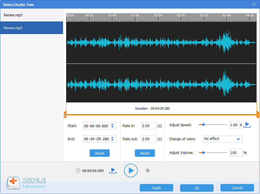 how to cut audio files and music with renee audio tools