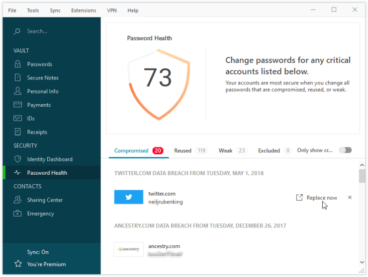 password organizer dashlane