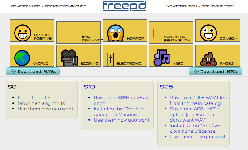obtain audio materials from freepd