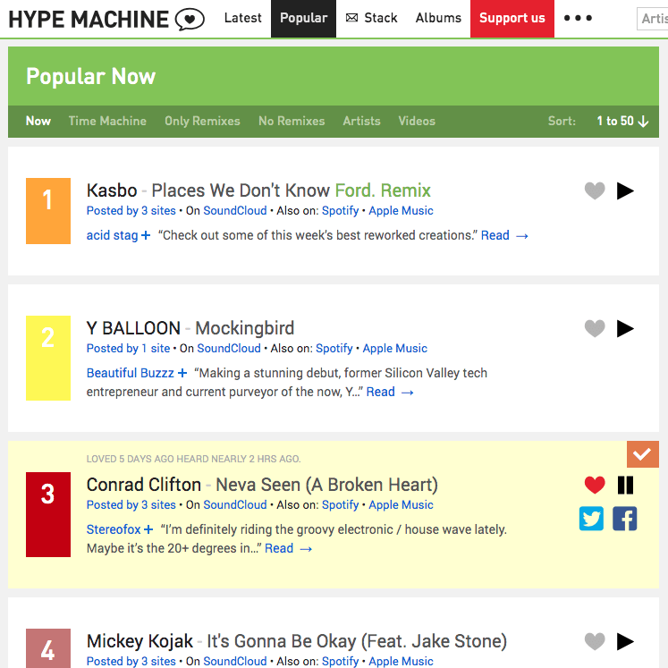 get quality music from hype machine