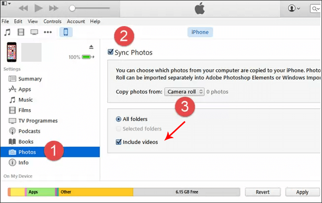 how to transfer videos from computer to iphone with itunes photos
