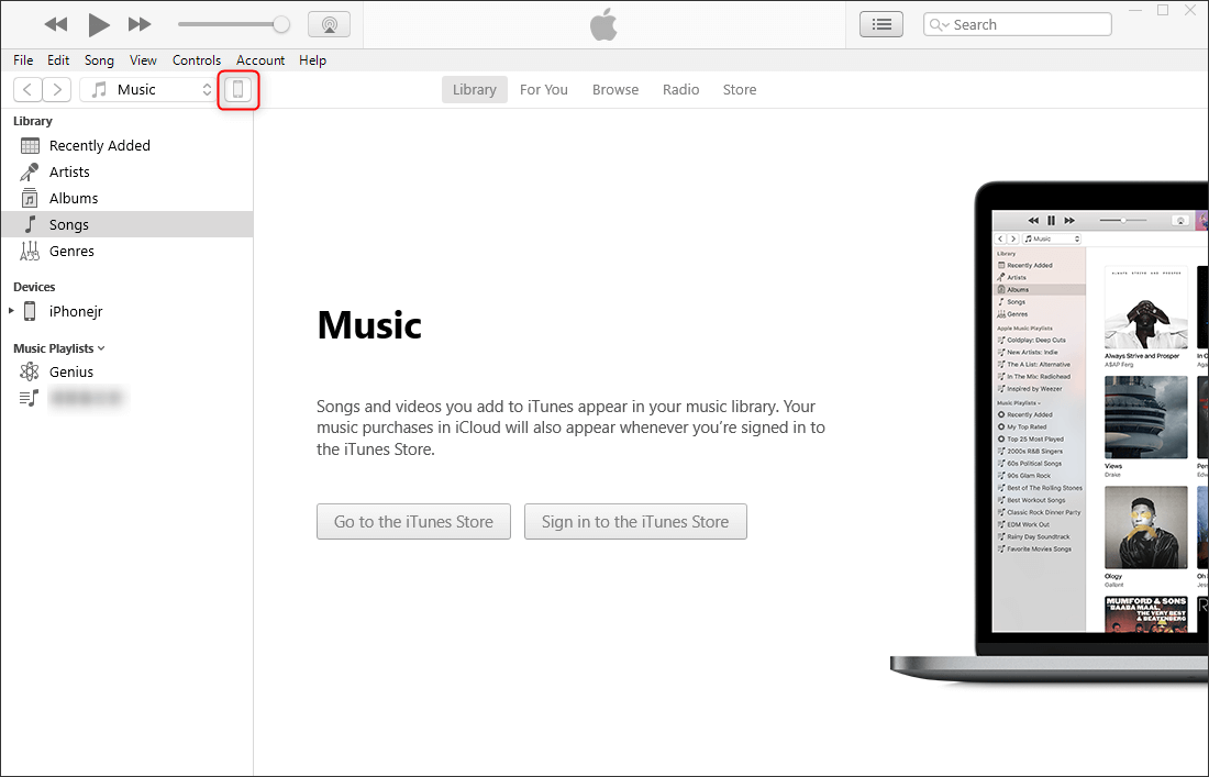 click iphone icon to enter the device in itunes