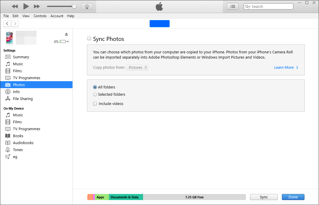 go to itunes photos and sync