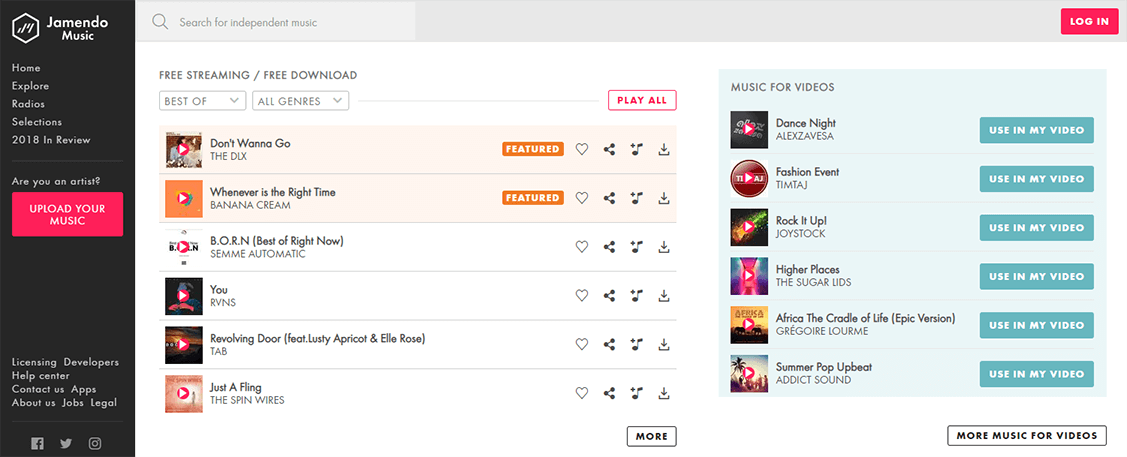 get access to jamendo to download songs